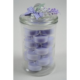 *OFFERTA TEA LIGHT LAVANDA IN VASO VETRO