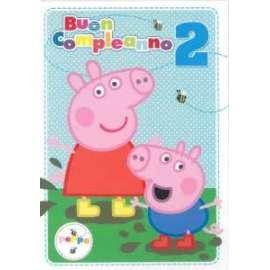 Biglietti Compleanno PEPPA PIG 2 ANNI 12,7x17,8cm conf.6pz
