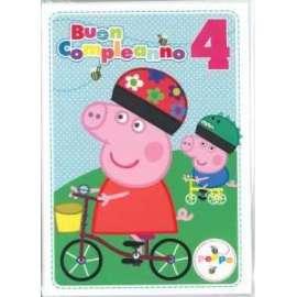 Biglietti Compleanno PEPPA PIG 4 ANNI 12,7x17,8cm conf.6pz
