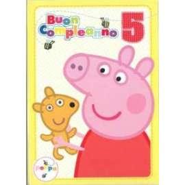 Biglietti Compleanno PEPPA PIG 5 ANNI 12,7x17,8cm conf.6pz