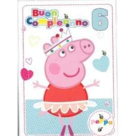 Biglietti Compleanno PEPPA PIG 6 ANNI 12,7x17,8cm conf.6pz