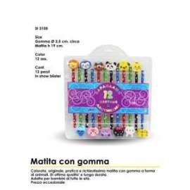 MATITE C/GOMMINE ANIMALI 12pz