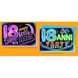 Biglietti Compleanno 18 ANNI NEON conf.12pz
