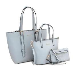 BORSA DONNA SET 3pz c/SHOPPER,TRACOLLA, BUSTA METAL