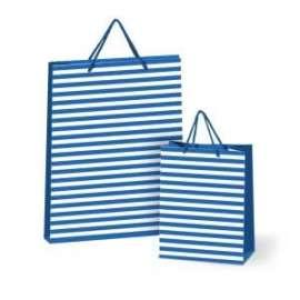 Shopper Carta 26x22x10 RIGATO BLU conf.10pz