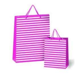 Shopper Carta 26x22x10 RIGATO FUXIA conf.10pz