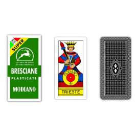 Carte da Gioco MODIANO BRESCIANE R/VERDE Cartoncino Plastificato