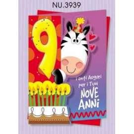 Biglietti Compleanno ANIMALOTTI .. 9 ANNI conf.6pz