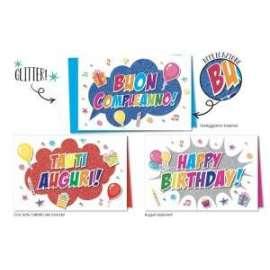 Biglietti Compleanno FANTASIA C/GLITTER conf.12pz