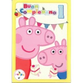 Biglietti Compleanno PEPPA PIG 1 ANNO 12,7x17,8cm conf.6pz