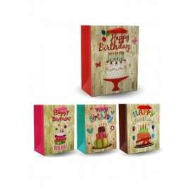 Shopper Carta 18x23x10 HAPPY BIRTHDAY WOOD conf.12pz