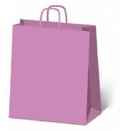 *OFFERTA Shopper Carta 27x37+12 TINTA UNITA c/MANICO RITORTO conf.10pz ROSA