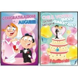 Biglietti Matrimonio UMORISTICO C/GLITTER conf.12pz