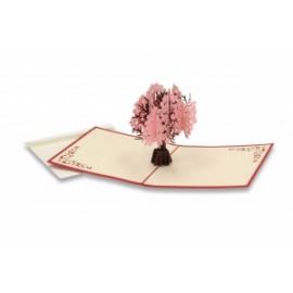 Biglietti Origami ALBERO C/FIORI ROSA