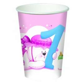 Party BICCHIERE TEDDY 1°COMPLEANNO BIMBA 20cl 8pz