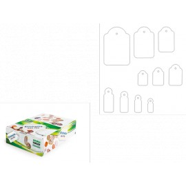 Etichette con filo bianco